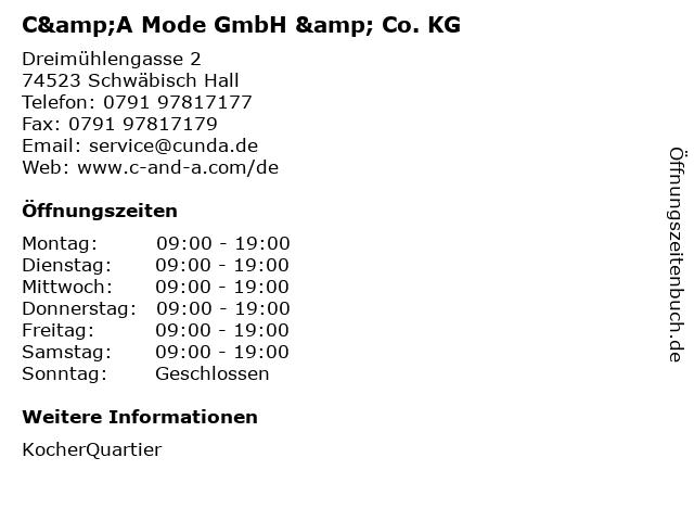 C&A Mode GmbH & Co. KG in Schwäbisch Hall: Adresse und Öffnungszeiten