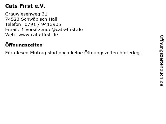 Cats First e.V. in Schwäbisch Hall: Adresse und Öffnungszeiten