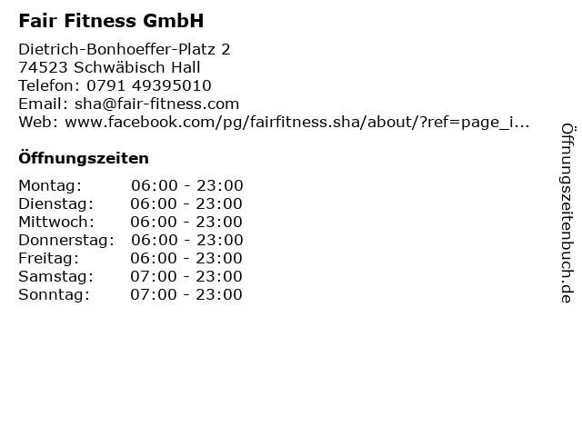 Fair Fitness GmbH in Schwäbisch Hall: Adresse und Öffnungszeiten