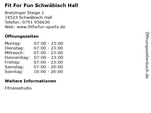 Fit For Fun Schwäbisch Hall in Schwäbisch Hall: Adresse und Öffnungszeiten