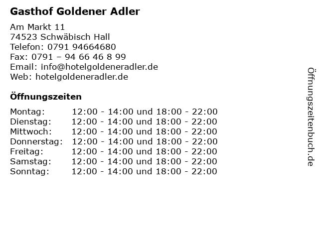 Gasthof Goldener Adler in Schwäbisch Hall: Adresse und Öffnungszeiten