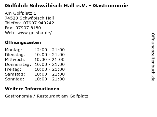 Golfclub Schwäbisch Hall e.V. - Gastronomie in Schwäbisch Hall: Adresse und Öffnungszeiten