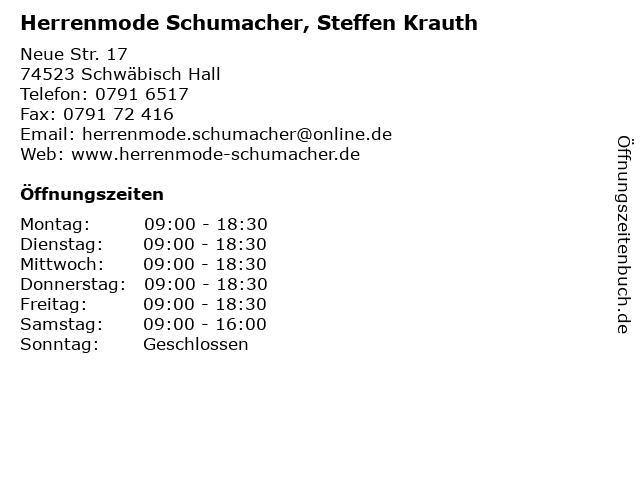 Herrenmode Schumacher, Steffen Krauth in Schwäbisch Hall: Adresse und Öffnungszeiten