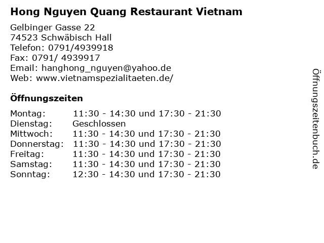 Hong Nguyen Quang Restaurant Vietnam in Schwäbisch Hall: Adresse und Öffnungszeiten