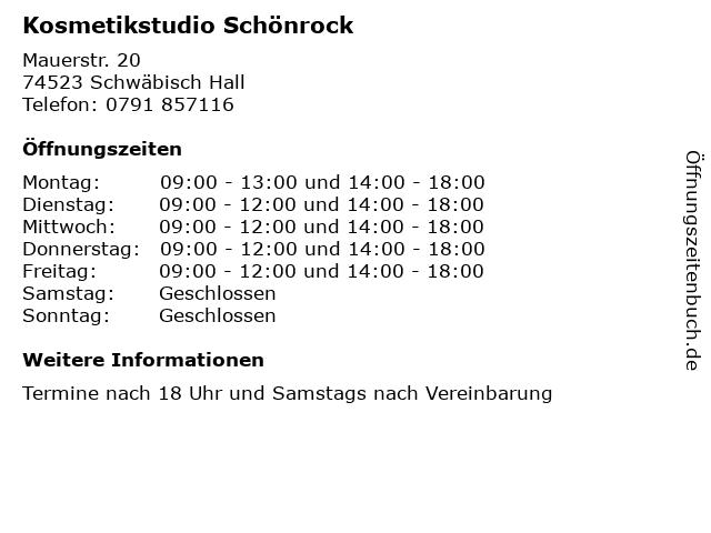 Kosmetikstudio Schönrock in Schwäbisch Hall: Adresse und Öffnungszeiten