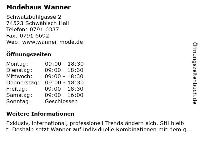 Moden Wanner in Schwäbisch Hall: Adresse und Öffnungszeiten
