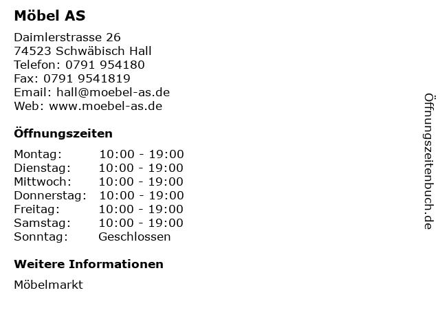 ᐅ öffnungszeiten Möbel As Daimlerstrasse 26 In Schwäbisch Hall