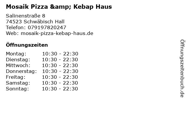 Mosaik Pizza & Kebap Haus in Schwäbisch Hall: Adresse und Öffnungszeiten
