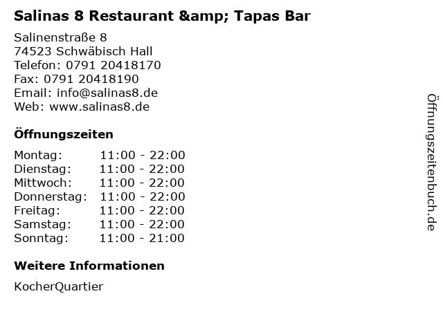 Salinas 8 Restaurant & Tapas Bar in Schwäbisch Hall: Adresse und Öffnungszeiten