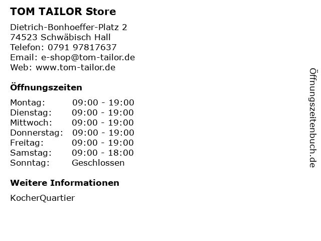 TOM TAILOR Store in Schwäbisch Hall: Adresse und Öffnungszeiten