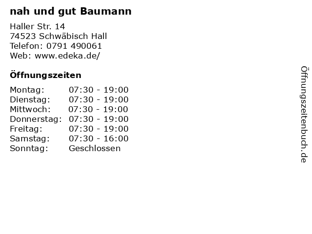 nah und gut Baumann in Schwäbisch Hall: Adresse und Öffnungszeiten