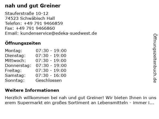 nah und gut Greiner in Schwäbisch Hall: Adresse und Öffnungszeiten