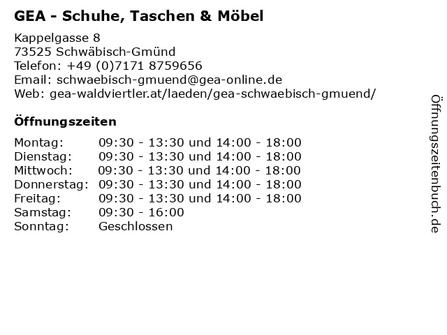 """ᐅ Öffnungszeiten """"GEA - Schuhe, Taschen & Möbel""""   Kappelgasse 8 in ..."""
