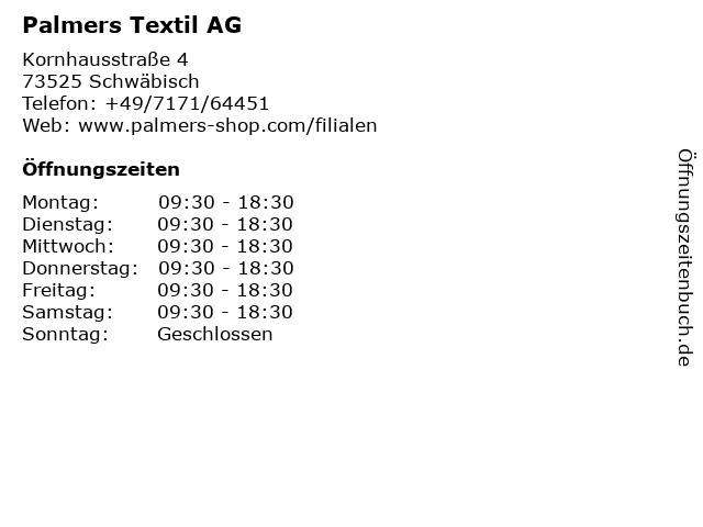 Palmers Textil AG in Schwäbisch: Adresse und Öffnungszeiten