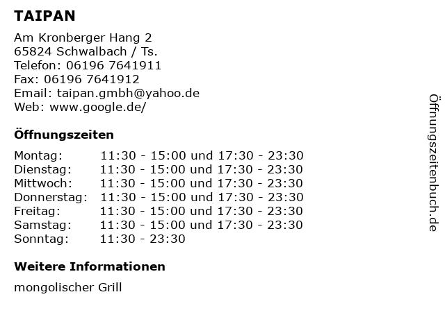 TAIPAN in Schwalbach / Ts.: Adresse und Öffnungszeiten