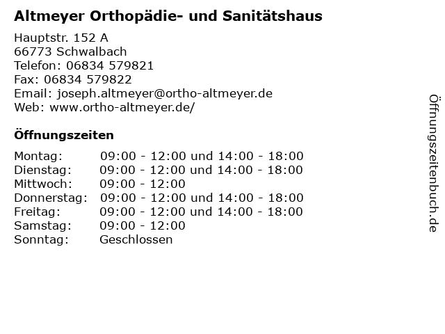 Altmeyer Orthopädie- und Sanitätshaus in Schwalbach: Adresse und Öffnungszeiten
