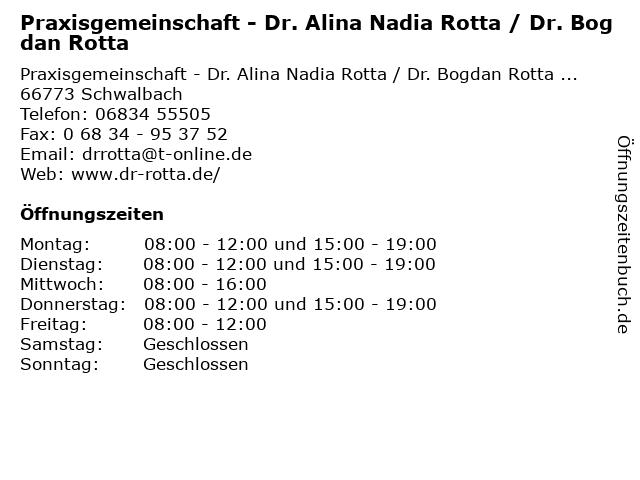 Praxisgemeinschaft - Dr. Alina Nadia Rotta / Dr. Bogdan Rotta in Schwalbach: Adresse und Öffnungszeiten