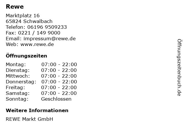 REWE Markt GmbH in Schwalbach: Adresse und Öffnungszeiten