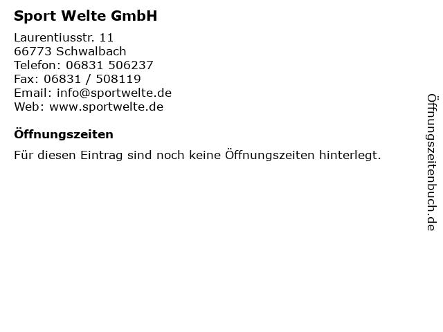 Sport Welte GmbH in Schwalbach: Adresse und Öffnungszeiten