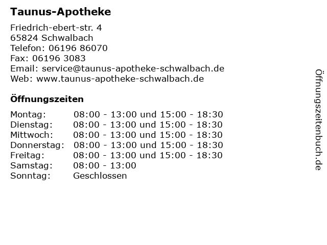Taunus-Apotheke in Schwalbach: Adresse und Öffnungszeiten