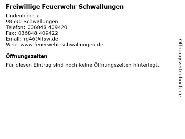 ᐅ Offnungszeiten Freiwillige Feuerwehr Schwallungen Lindenhohe X