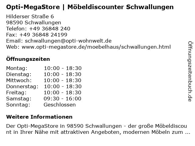 ᐅ Offnungszeiten Sb Megastore Schwallungen Hilderser Str 6 In