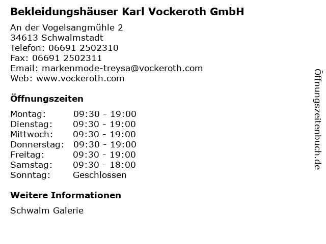 Bekleidungshäuser Karl Vockeroth GmbH in Schwalmstadt: Adresse und Öffnungszeiten