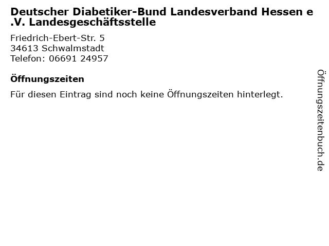 Deutscher Diabetiker-Bund Landesverband Hessen e.V. Landesgeschäftsstelle in Schwalmstadt: Adresse und Öffnungszeiten