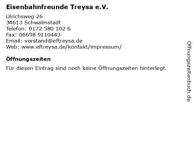 Eisenbahnfreunde Treysa e.V. in Schwalmstadt: Adresse und Öffnungszeiten