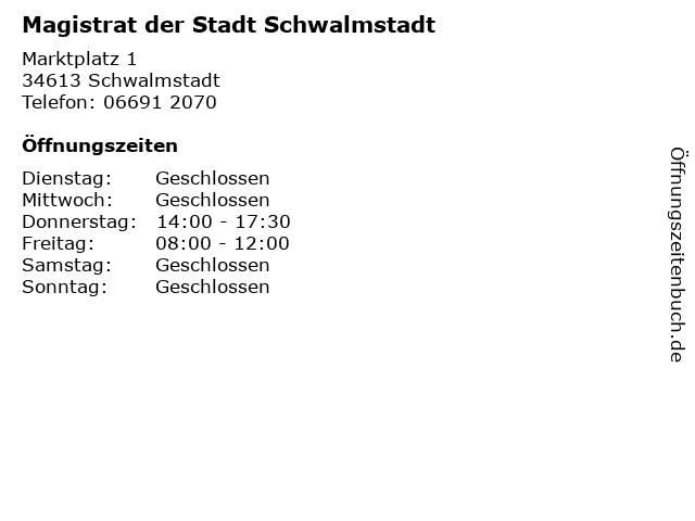 Magistrat der Stadt Schwalmstadt in Schwalmstadt: Adresse und Öffnungszeiten