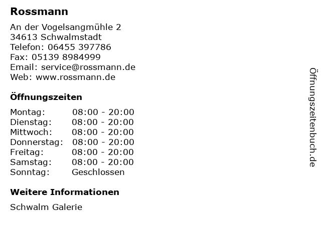 Dirk Rossmann GmbH in Schwalmstadt: Adresse und Öffnungszeiten