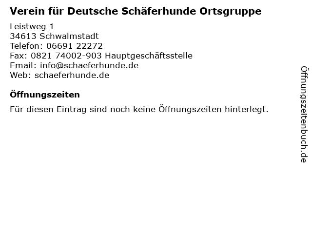 Verein für Deutsche Schäferhunde Ortsgruppe in Schwalmstadt: Adresse und Öffnungszeiten