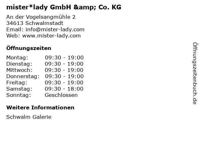 mister*lady GmbH & Co. KG in Schwalmstadt: Adresse und Öffnungszeiten