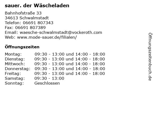 sauer. der Wäscheladen in Schwalmstadt: Adresse und Öffnungszeiten