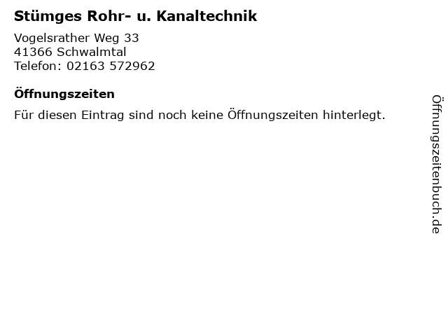 Stümges Rohr- u. Kanaltechnik in Schwalmtal: Adresse und Öffnungszeiten