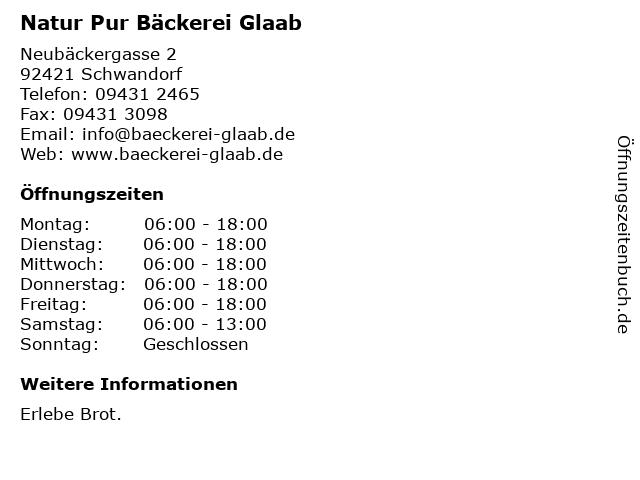 Natur Pur Bäckerei Glaab in Schwandorf: Adresse und Öffnungszeiten