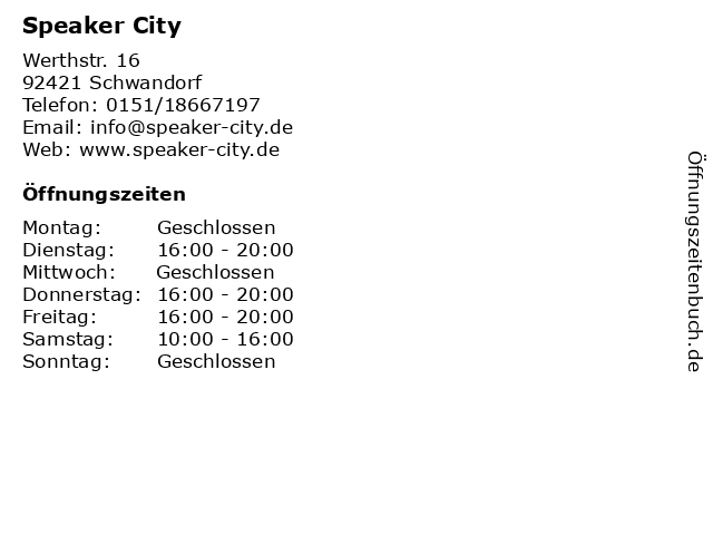 Speaker City in Schwandorf: Adresse und Öffnungszeiten