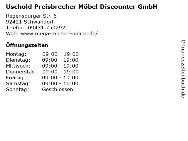 ᐅ öffnungszeiten Uschold Preisbrecher Möbel Discounter Gmbh