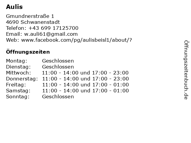 Aulis in Schwanenstadt: Adresse und Öffnungszeiten