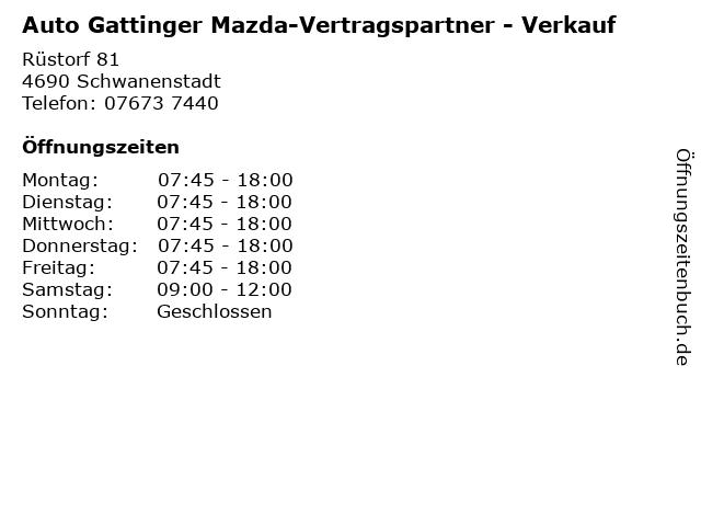 Auto Gattinger Mazda-Vertragspartner - Verkauf in Schwanenstadt: Adresse und Öffnungszeiten