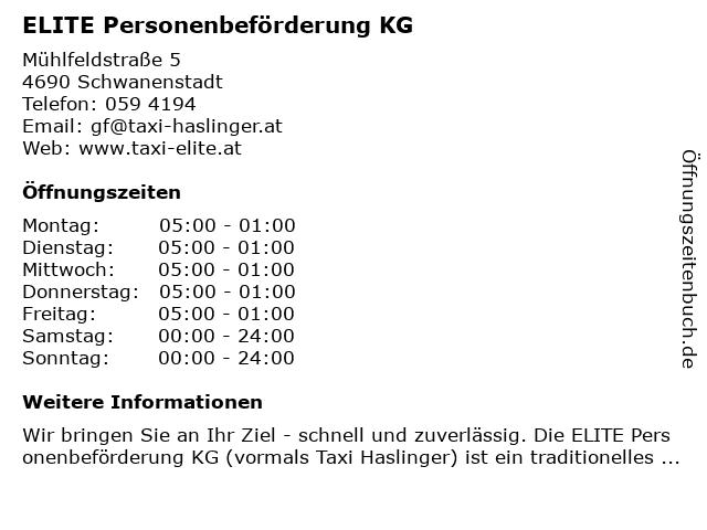 ELITE Personenbeförderung KG in Schwanenstadt: Adresse und Öffnungszeiten
