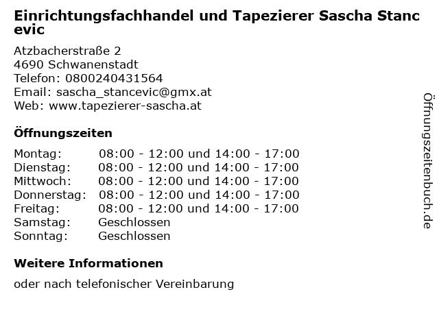 Einrichtungsfachhandel und Tapezierer Sascha Stancevic in Schwanenstadt: Adresse und Öffnungszeiten