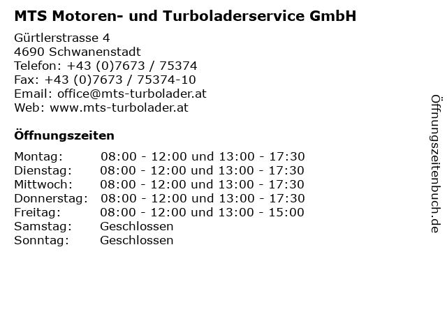 MTS Motoren- und Turboladerservice GmbH in Schwanenstadt: Adresse und Öffnungszeiten