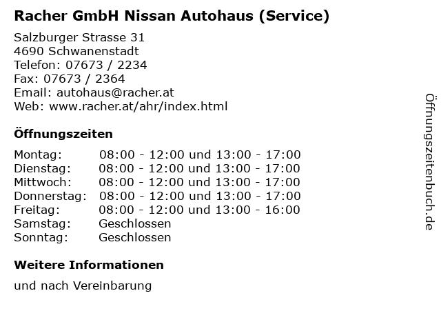 Racher GmbH Nissan Autohaus (Service) in Schwanenstadt: Adresse und Öffnungszeiten