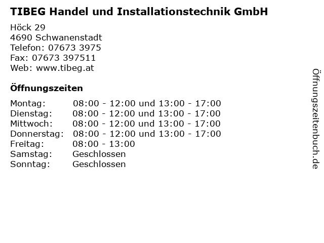 TIBEG Handel und Installationstechnik GmbH in Schwanenstadt: Adresse und Öffnungszeiten