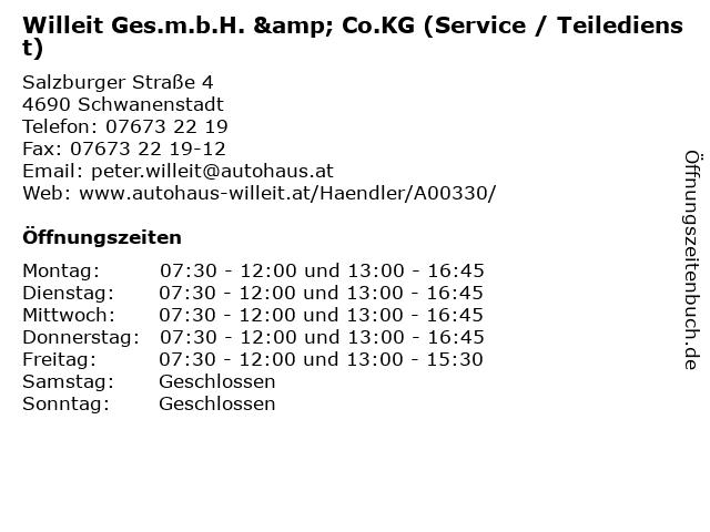 Willeit Ges.m.b.H. & Co.KG (Service / Teiledienst) in Schwanenstadt: Adresse und Öffnungszeiten