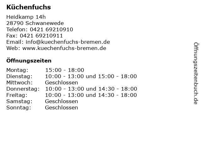 ᐅ Offnungszeiten Kuchenfuchs Heidkamp 14h In Schwanewede