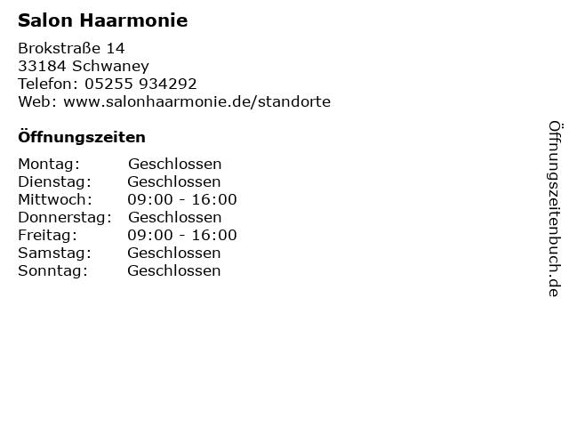 Salon Haarmonie in Schwaney: Adresse und Öffnungszeiten