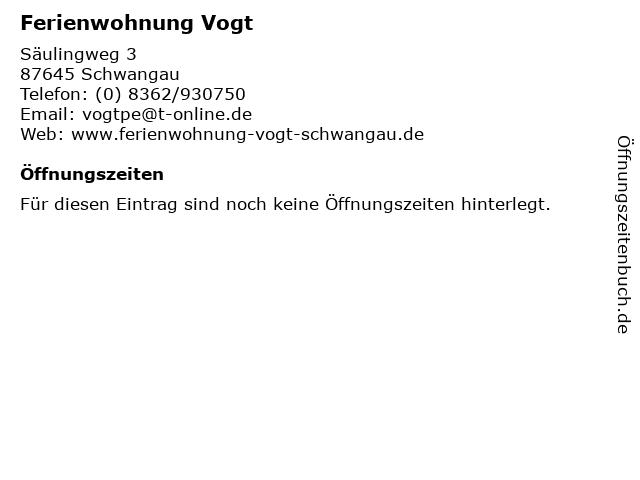 Ferienwohnung Vogt in Schwangau: Adresse und Öffnungszeiten