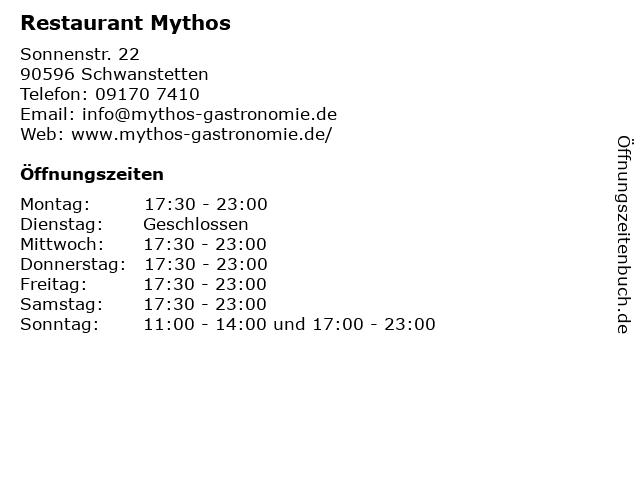 Restaurant Mythos in Schwanstetten: Adresse und Öffnungszeiten